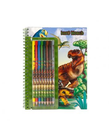 Dino World Colouring Book With Coloured Pencils
