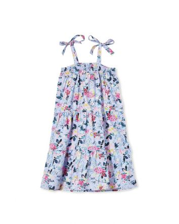 Milky Spring Garden Floral Dress