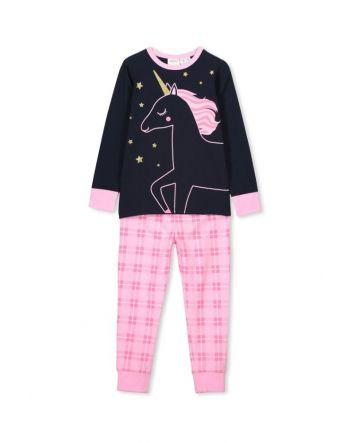 Milky Unicorn PJ's Navy/Candy Pink