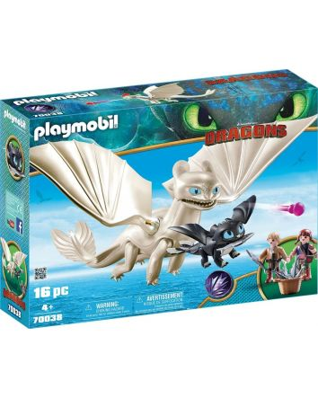 Light Fury with Baby Dragon and Children- Playmobil Dragons