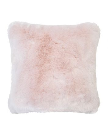 Faux Fur Square Cushion - Rosewater