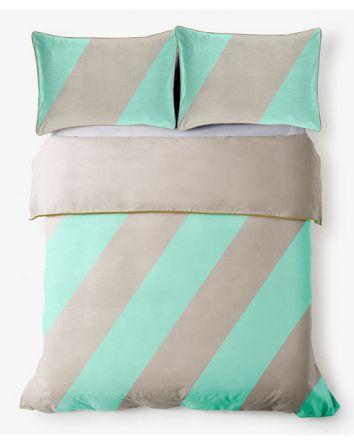 Aura Mint Big Stripe Quilt Cover Single