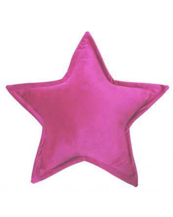 Velvet Star Cushion - Bright Pink