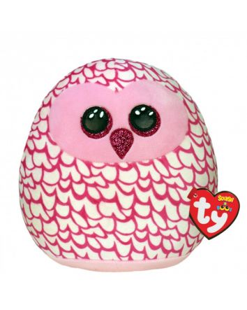 TY Beanie Boo Pinky the Owl Small Squish-A-Boos