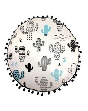 Animated Cactus Round Cushion - Teal