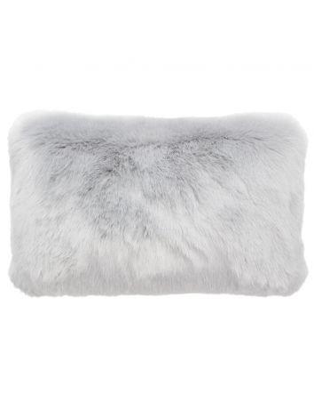 Faux Fur Rectangle Cushion - Silver