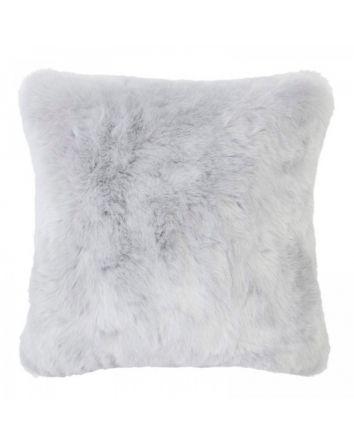 Faux Fur Square Cushion - Silver