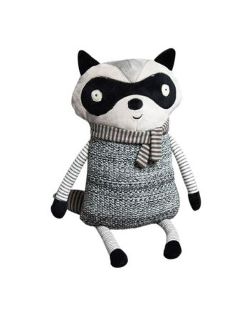 In The Woods Raccoon Plush Pillow