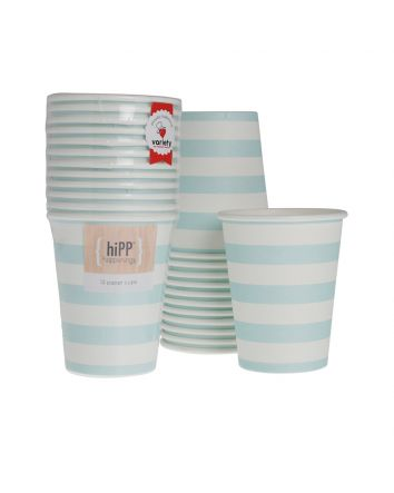 Aqua Stripe Cups