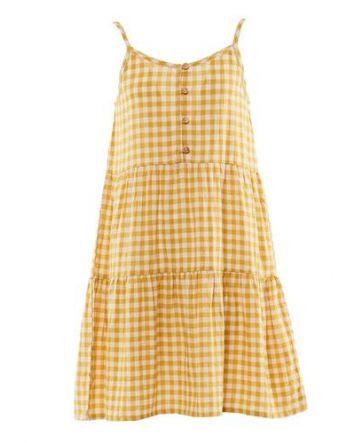 Eve Girl Check Dress Mustard