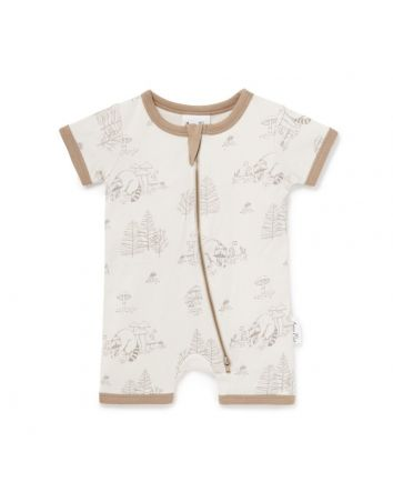 Aster & Oak Raccoon Short Zip Romper