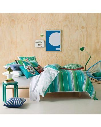 Tulum Emerald Stripe Quilt Cover Set Single