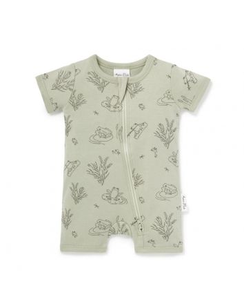 Aster & Oak Frog Pond Short Zip Romper