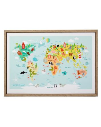 World Travels in Colour Map Framed Print 50 x 70cm