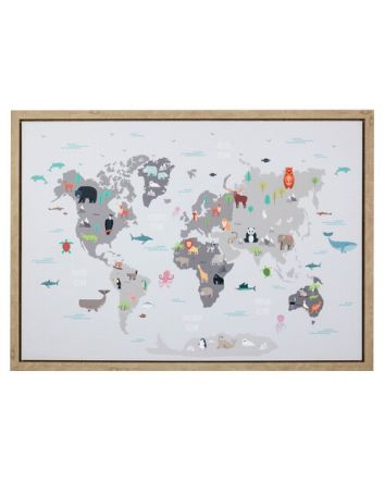 Animals of The World Map Framed Print