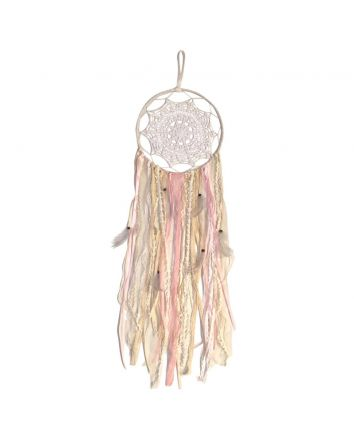 Crotchet Dream Catcher with Lace Pink