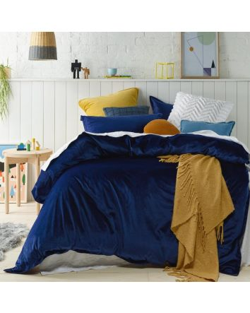 Jiggle and Giggle Velvet Quilt Navy