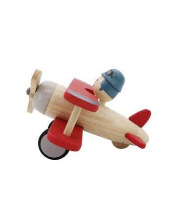 Retro Red Wooden Biplane