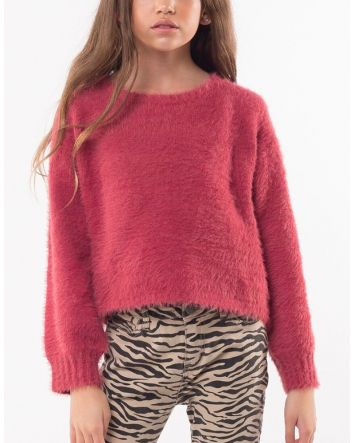 Eve Girl Holly Fluffy Knit Berry