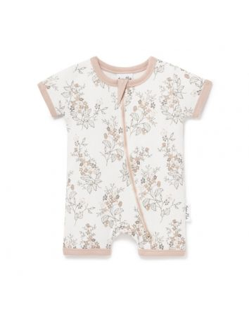 Aster & Oak Floral Short Zip Romper