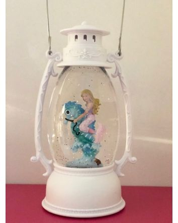 Oval Lantern w/ Mermaid on Seahorse