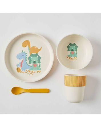Jiggle & Giggle Dinosaur Whimsical Kids Bamboo Dinner Set