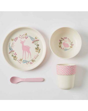 Jiggle & Giggle Deer/Bunny  Whimsical Kids Bamboo Dinner Set